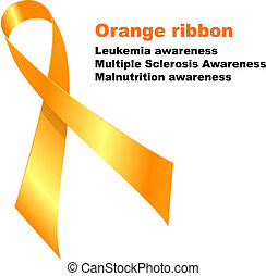 Orange ribbon. Leukemia awareness. Multiple Sclerosis ...