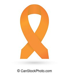 Orange ribbon. Leukemia awareness