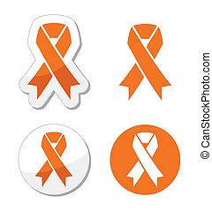 Orange ribbon - leukemia, hunger si - Orange ribbons set...
