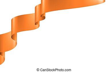orange ribbon on white background. Vector illustration
