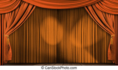 orange, rideaux, tissu, théâtre