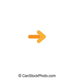 orange right arrow cartoon icon. Isolated on white. Continue icon.