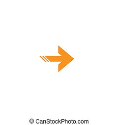 orange right sharp arrow icon. Isolated on white. Continue icon.