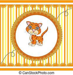 orange, rigolote, dessin animé, chat