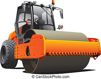 orange road roller - Detailed vectorial image of orange ...