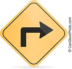 Orange road turn sign on a white background with shadow