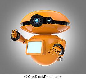 Orange robot on gray background - Orange robot isolated on...