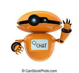 Orange robot on white background - Orange robot isolated on ...