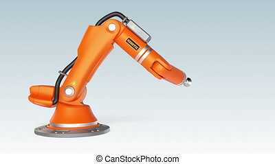 Orange robotic arm holding a sign