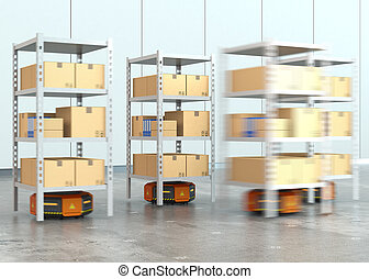 Orange robots carrying pallets with goods