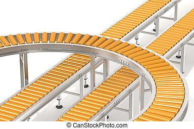 Orange Roller Conveyor System.