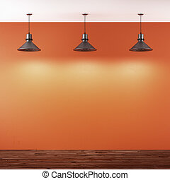 Orange room with ceiling lamps