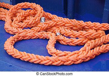 Orange rope on boat