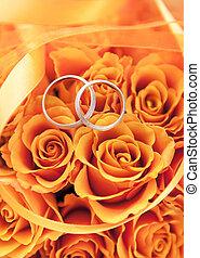 orange, rosen, ringe, gold, wedding