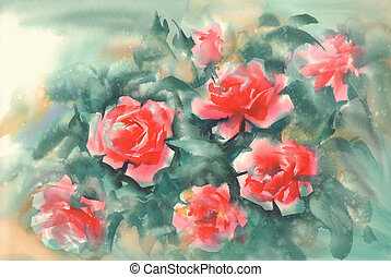 orange roses in green background watercolor