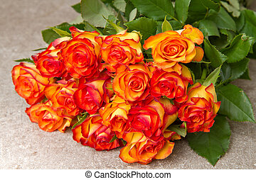 Orange roses on wooden background