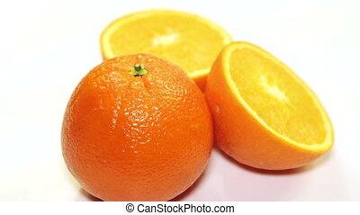 orange rotation on the table, close-up