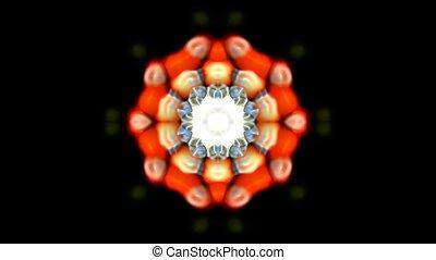 orange rotation flower pattern, kaleidoscope, oriental lotus texture