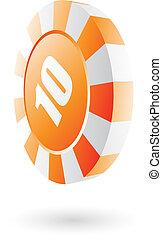 Orange roulette chip