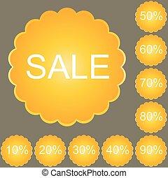 Orange round discount labels set