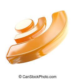 Orange RSS icon glossy emblem isolated