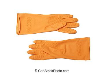 Orange rubber glove on white background