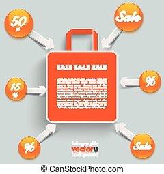 orange, sac, achats, flèches, boutons