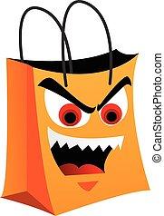 orange, sac, achats, mal