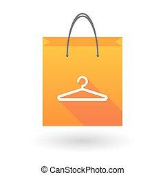 orange, sac, cintre, achats, icône