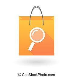 orange, sac, icône, achats, loupe