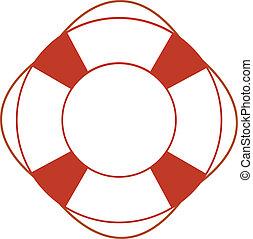 Orange safety ring on white background. Sea theme, help,...