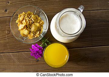 orange, saft, Milch, Krug, getreide