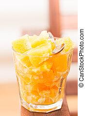 Orange salad in glass