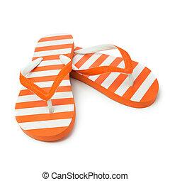 Orange sandal - Pair of orange striped sandal on white...