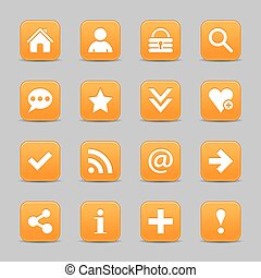 Orange satin icon web button with white basic sign