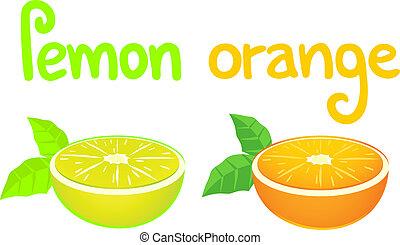 orange, saveur, citron