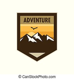 Orange Scene Mountain Adventure Edgy Shield Badge Design