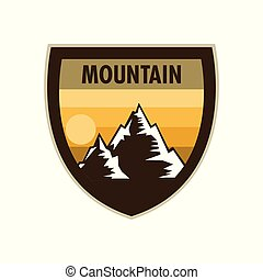 Orange Scene Mountain Adventure Shield Badge Design