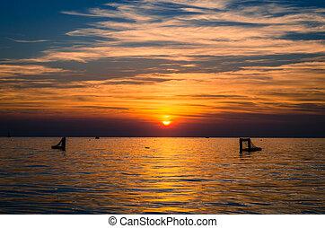 orange scenic sunset and sea horizon
