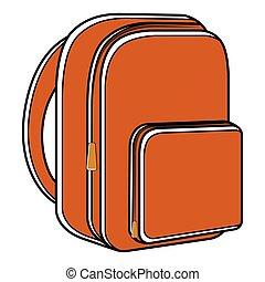 Orange school bag icon