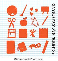 Orange school icons