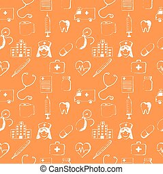 Orange seamless pattern-medical items