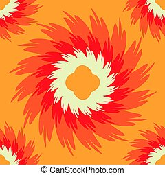 Orange seamless pattern with ornate flower. Eps10