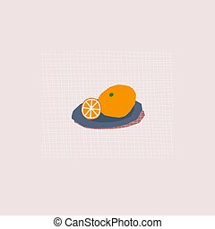 Orange season cute illustration postcard