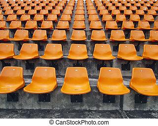 Orange seats on the stadium