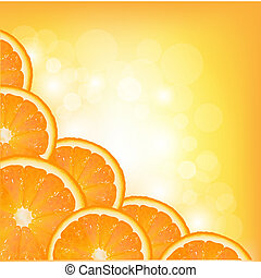 Orange Segment Frame, Vector Background