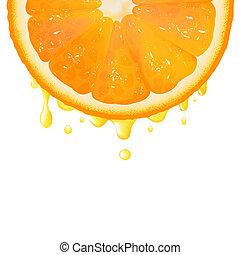 Orange Segment With Juice, Isolated On White Background,...