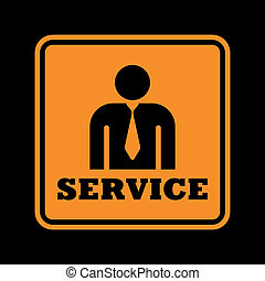 service icon - orange service icon isolated on black...