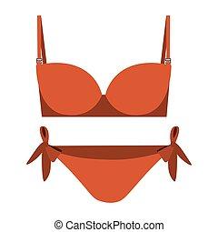 orange set bikini with bow