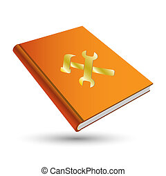 setting book - orange setting book with gold option 3d icon...